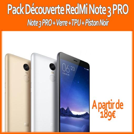 Pack 2017 : Xiaomi RedMi Note 3 PRO (Verre+ Piston + TPU) ()