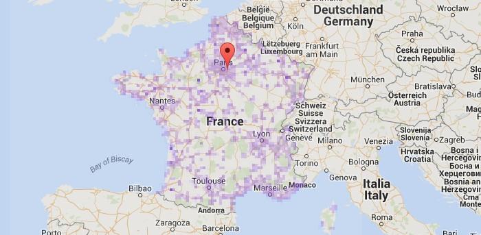Carte du déploiement de la 4G en France