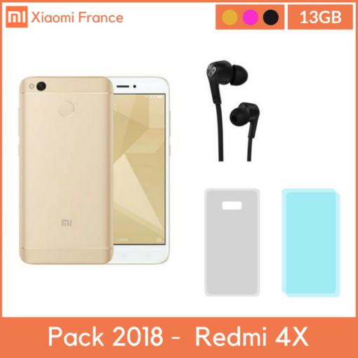 Pack 2018: Xiaomi RedMi 4X 16GB (Verre + TPU + Piston) ()
