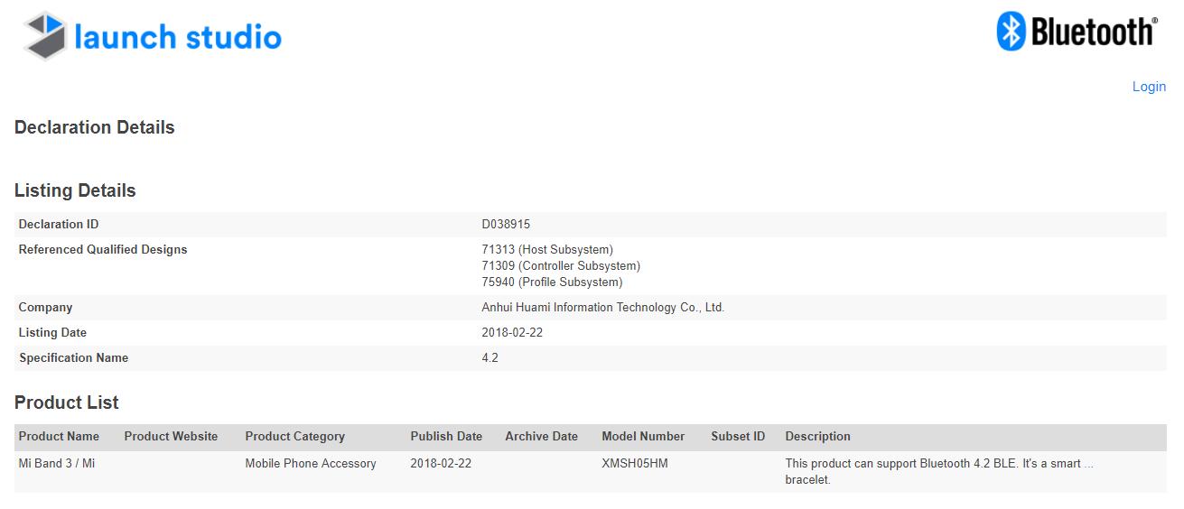 Le Xiaomi Mi Band 3 a reçu sa certification Bluetooth : une sortie imminente ? ()