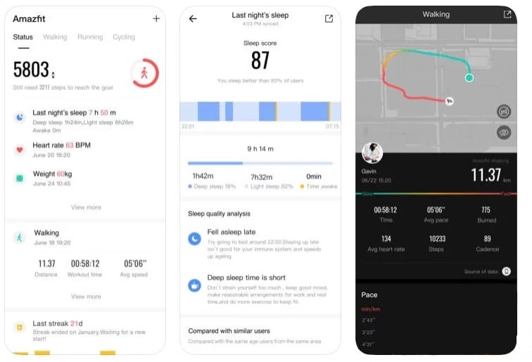 Application mobile Amazfit
