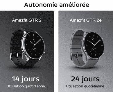 amazfit gtr 2 vs gtr 2e autonomie